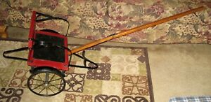 VTG Antique 1910 Geneva Red Wood W/Leather Seat Child's Horse Drawn Cart/Sulky!