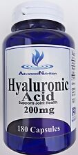 Hyaluronic Acid High Potency 200mg 180 Capsules 100% Made USA/FDA Gluten FREE
