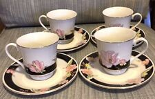 4X China Pearl ALICE Tea Cups & Saucers Set