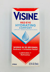 Visine Red Eye Hydrating Comfort Eye Drops Lubricating, 0.5 fl oz EXP 03/2023