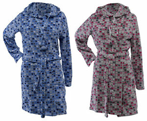 Ladies Heart Design Hooded Dressing Gown Super Soft Fleece Wrap Around Bath Robe
