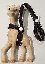 BLACK/WHITE Stitch Toy saver strap Sophie the giraffe, Baby shower gift idea
