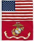 2 Pieces 3x5 USMC US Marine Corps Flag and American Flag  Resistant Fade