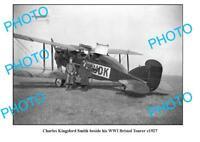 OLD 8x6 PHOTO CHARLES KINGSFORD SMITH & HIS BRISTOL TOURER c1927