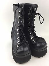 Demonia Gothic Black Platform Punk Goth Boots Women's Size 8 Lace Up Side Zipper