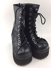 Demonia Gothic Black Platform Punk Goth Boots Women's Size 8 Lace Up Side Zipper