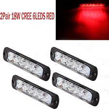 4pcs18W CREE 6-LEDs Thin Red Car Flash Emergency Hazard Warning Strobe Light Bar
