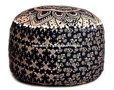 "22"" Indian Pouf Ottoman Pouffe Cover Black Gold Mandala Foot Stool Pouf Covers"