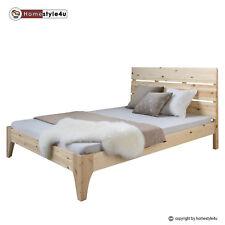 Lit double en bois massif 140x200cm nature pin lit futon à lattes cadre de lit