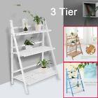 3 Tier Flower Plant Pot Shelf Bamboo Stand Display Ladder Garden Rack Step Style