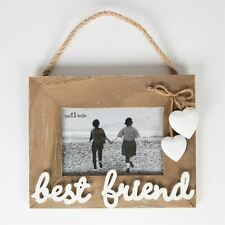 Best Friend Photo Frame Wood & White Hearts Rope Hanging Frame Friend Gift