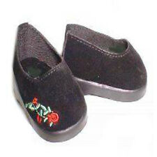 Black and Red Embroidered Slip On Shoes Fits 18 inch American Girl Dolls