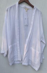 Eileen Fisher Large White Organic Cotton Gauze Jacket NWT