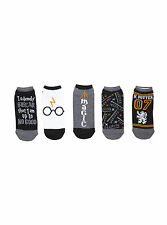 Harry Potter Deathly Hallows Solemnly Swear Glasses Scar No-Show Socks 5 Pair