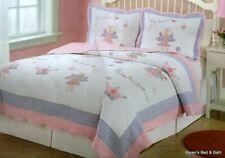 Fairy Princess Garden Purple Pink Twin Quilt & Sham Girls 2pc Bedding Set