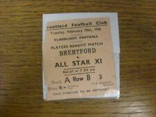 More details for 28/02/1956 ticket: brentford v all star xi [players benefit match] (slightly tor