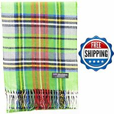 FREE SHIPPING 100% Cashmere Scarf Green Black Red Scotland Wool Check Plaid Wrap