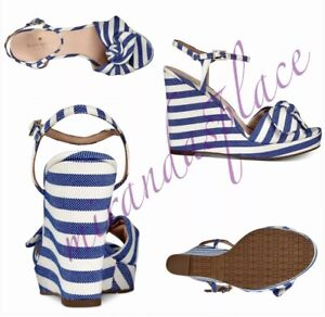 kate spade Janae Blue Cream Platform Wedge Ankle Strap Women Sandals