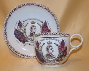 LARGE QUEEN VICTORIA GOLDEN JUBILEE COMMEMORATIVE CUP & SAUCER 1887