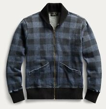 $345 RRL Ralph Lauren Vintage Inspired Stonewashed Plaid Fleece Jacket-XXL