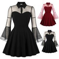 Vintage 50s Lapel Swing Dress Women Rockabilly Long Sleeve Retro Corset Dresses