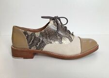Rachel Roy Size 6 Beige Patent Leather, Linen & Snakeskin Cap Toe Lace-Up Oxford