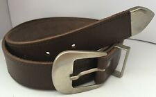 "Brown Real Leather Belt with Chrome Buckle, Runner & Tip 1"" WX7"