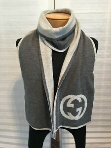 "NWT Authentic GUCCI GG Logo 100% Cashmere Gray Knit Scarf 9.5""x72"""