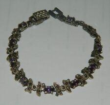 Bracciale in Argento 925 con pietre dure viola semi preziose OMA19