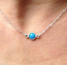 Tiny Sterling Silver REAL Turquoise Stone Necklace/ Choker. Petite & elegant!