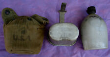 WWII Canteen, cup, & pouch, interesting markings  (LOC =  Lkr 6)