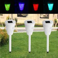 3PCS LED Lampe Solaire RGB+Blanc Eclairage Lumière Extérieur Cour Paysage Jardin
