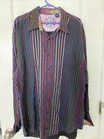 Robert Graham Mens Stripe Shirt PLAID Flip Cuff Sz 3XL