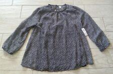 NWT Old Navy Shirred Chiffon Swing Shirt size small S - black/white/small stars