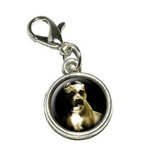 Pitbull Dog - Antiqued Bracelet Pendant Zipper Pull Charm with Lobster Clasp