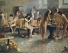 In The Bath House by Russian Vladimir Plotnikov. Fine Art Repro Canvas or Paper
