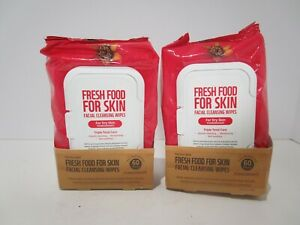 FARMSKIN Freshfood For Dry Skin Facial Cleansing 60 Wipes Pomegranate (2 Pack)