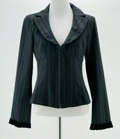 Nanette Lepore Women's Black Pin Striped Zip-Up Collared Blazer Jacket Size 4