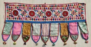 Ethnic Embroidery Rabari Vintage Tribal Tapestry Decor Door Valance Indian Toran