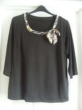BLACK STRETCH ANIMAL PRINT BOW DETAIL 3/4 SLEEVE TOP - SIZE 18 - NEW