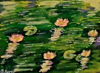 Original ACEO - Water lilies - miniature acrylic painting