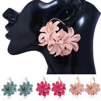Elegant Round Stud Ear Vintage Women Girls Lady Crystal Flower Hoop Earrings