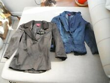 Monsoon Jackets x 2 lined brown with jewel broach/cotton mix navy denim/frill 8