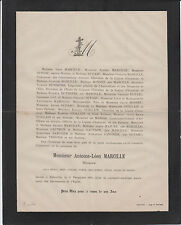 § 1878 FAIRE-PART DÉCÈS LÉON MARCILLE, NOTAIRE à ABBEVILLE (SOMME) §