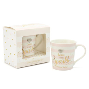LEAVE A LITTLE SPARKLE WHEREVER YOU GO MAD DOTS MUG IN MATCHING GIFT BOX LOVELY