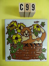 """Ceramic Art Tile 6""""x6"""" Calico cat in a basket with flowers wall trivet mural C99"""