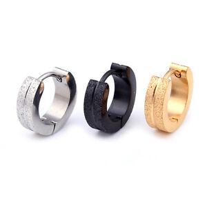 Fashion frosted Matte Men's Women's Stainless Steel Huggie Hoop Earrings 2PCS