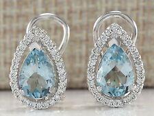 Women's Fashion 925 Silver Aquamarine &White Topaz Stud Earrings Wedding Jewelry