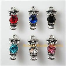 6 New Charms Glass Crystal Mixed Owl Bird Tibetan Silver Pendants 10.5x22mm