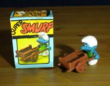 Smurfs Gardener Super Smurf Germany Figurine Wheelbarrow Vintage Toy Lot 40206